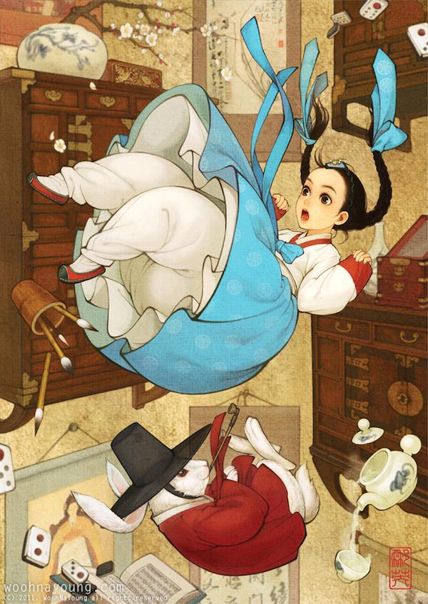 依然有很多可爱的小动物,而树枝花草则带有水墨画的风格;爱丽丝和兔子